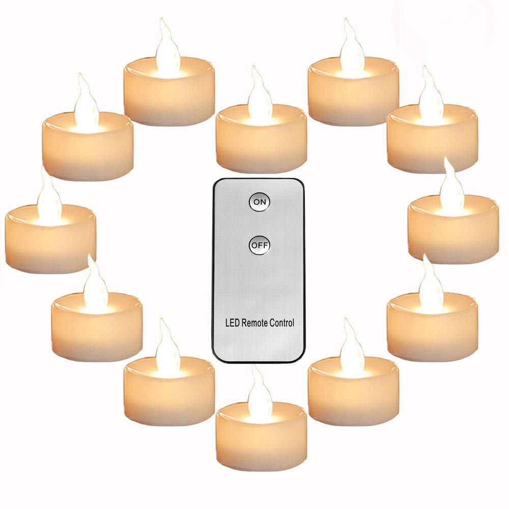 Micandle Pack of 12 Remote Control Tea Lights Warm White CR2450 Long Lasting Battery Operated 120 Hours+ Flameless Candle Flickering Light for Wedding Thanksgiving Christmas Party Festival Decoration