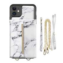 ZVEdeng iPhone 11 Crossbody Wallet Case, iPhone 11 Case with Card Holder Crossbody Chain and Wrist Strap Lanyard Case Leather Printed Crossbody Bag for iPhone 11, 6.1inch-White Marble