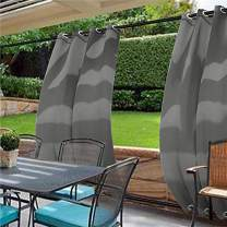 cololeaf Water Repellent Outdoor Decor Panel Grommet at top and Bottom Curtains/Drapes Panels for Patio,Front Porch,Gazebo, Pergola, Cabana, Dock, Beach Home,Grey 120W x 96L Inch (1 Panel)
