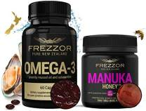FREZZOR Omega-3 Black + FREZZOR Manuka Honey UFF1000, Cold & Flu Relief, Sore Throat Symptom Relief, Immune System, Anti-Inflammatory, Antioxidant, New Zealand Green Lipped Mussel Omega-3 Supplement