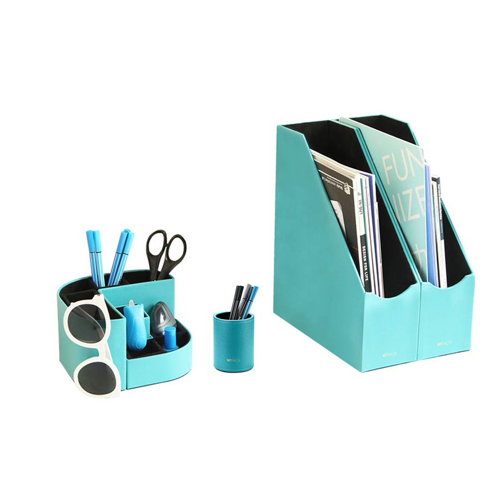 Vlando VPACK Large Magazine File Organizer Holder - PU Leather Magnet Pen Holder and Pencil Cup - Home Office Organizer Collection, Assorted Color (Peacock Blue Set of 4)