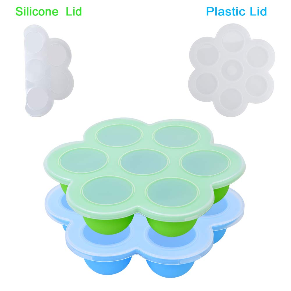 Zeattain Silicone Egg Bites Molds for Instant Pot Accessories- Unique Silicone Lid and Plastic Lid Included - Baby Food Freezer Trays, Egg Bites Mold for Instant Pot