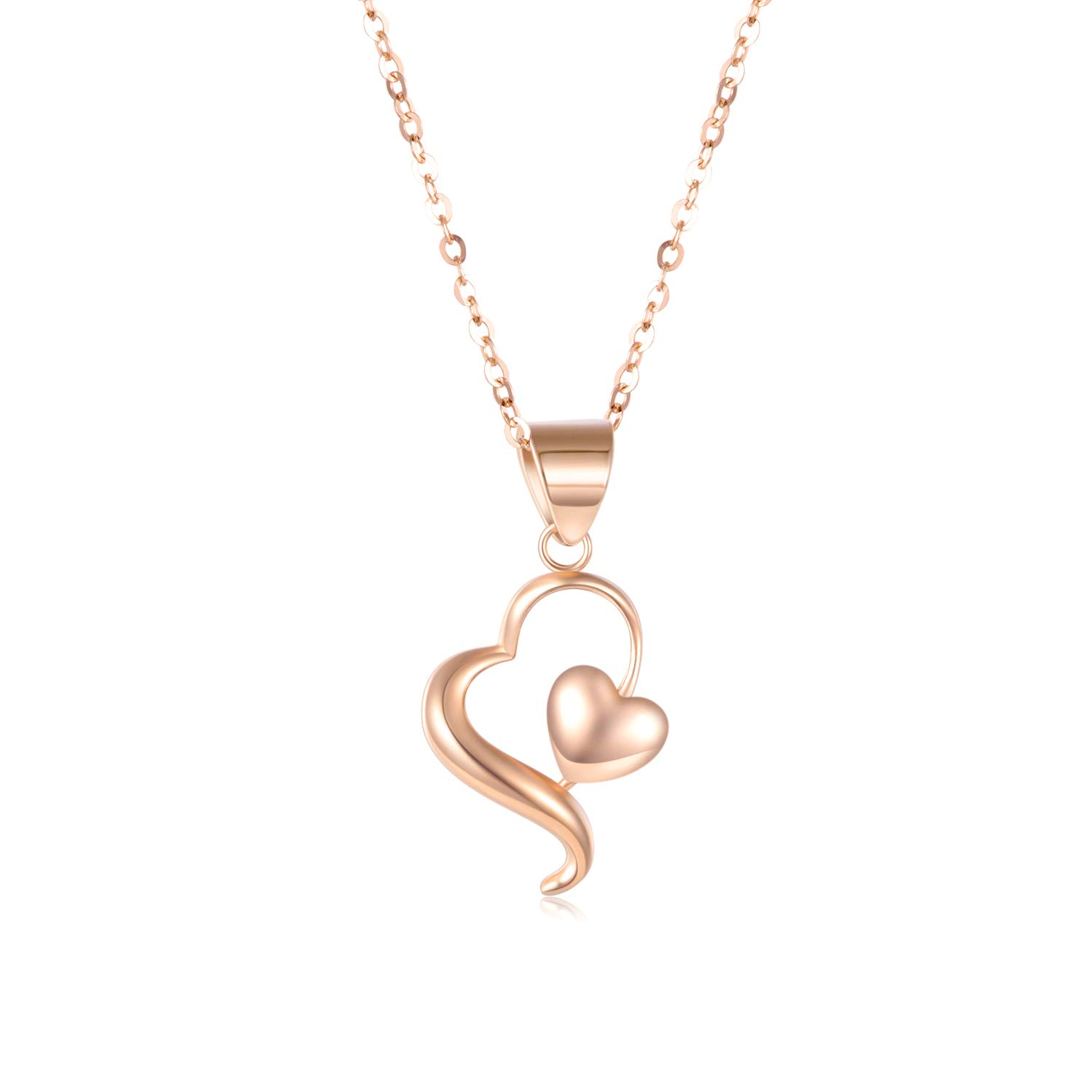 14k 18K Gold Heart Pendant Necklace for Women, Real Gold Love Jewelry for Her, 18 Inch