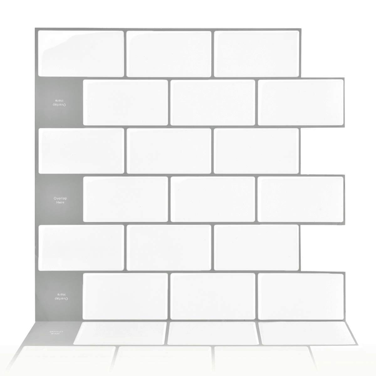 Vamos Tile, Upgraded, 10-Sheet Subway Tiles Peel and Stick Backsplash,Stick on Tiles Kitchen Backsplash - Premium Vinyl Anti Mold Tiles, White Tiles for Bathroom & Fireplace Decorations