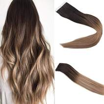 Easyouth 14inch Remy Human Hair Tape Extensions Balayage Color 2 Dark Brown Fading to 6 Medium Brown Highlights with 18 Ash Blonde Skin Weft 80 Gram per Pack Seamless Tape in Hair Extensions