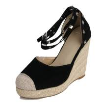 MEOTINA Espadrille Wedge Sandals Fashion Ankle-Strap Closed Toe Rivets Women Shoes