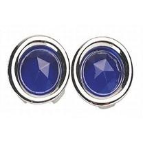 Blue Dot Tail Light Lens, Glass, w/Chrome Fitting