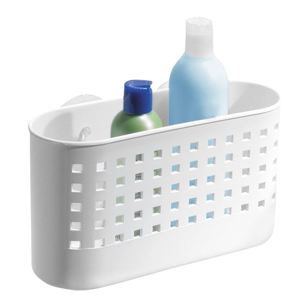 iDesign Suction Bathroom Shower Caddy Basket for Shampoo, Conditioner, Soap - White