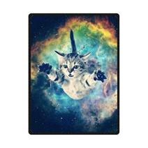"49"" x 80"" Blanket Comfort Warmth Soft Cozy Air Conditioning Easy Care Machine Wash Galaxy Space Cat"