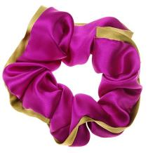 L. Erickson USA Edged Scrunchie - Silk Charmeuse Berry/Kiwi