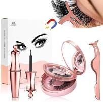 Magnetic Eyeliner and Eyelashes Kit, 2 Pcs 3D Magnetic Eyelashes Reusable Eyeliners With Tweezers Set Without Glue