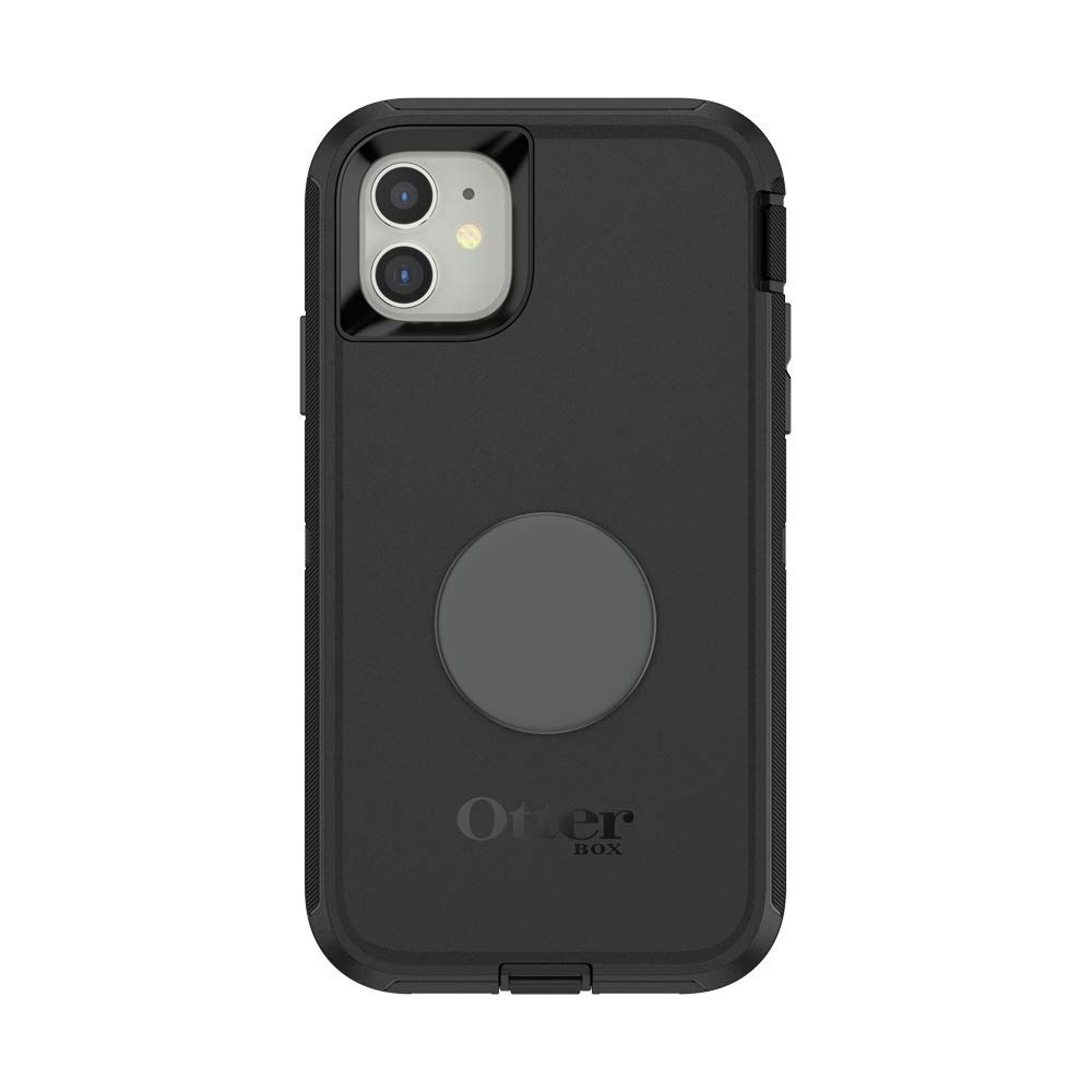 PopSockets Otter + Pop for iPhone 11: OtterBox Defender Series Case Swappable PopTop - Black and Aluminum Space Grey