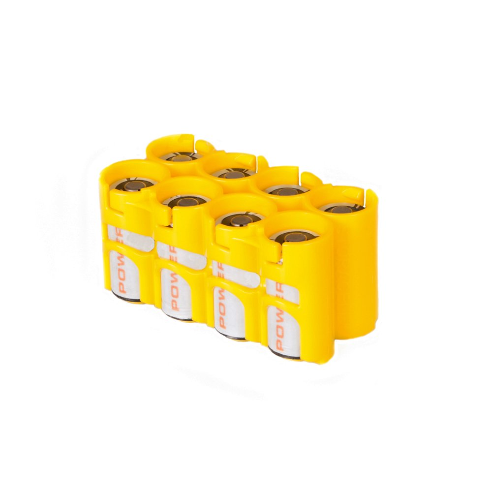 Storacell by Powerpax CR123 Battery Caddy, Yellow, Holds 8 Batteries
