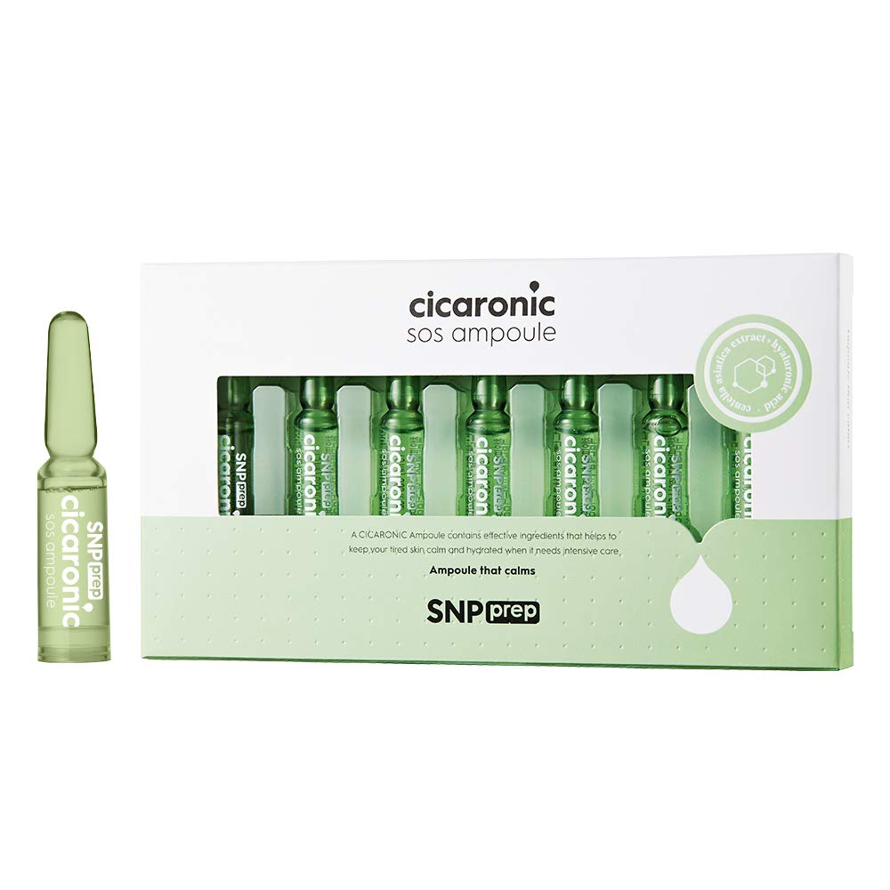 SNP PREP - Cicaronic SoS Ampoule - Soothing & Immediate Calming Effects for All Sensitive Skin Types - 7 Vials, 1 Week Supply - 1.5ml per Vial - Best Gift Idea for Mom, Girlfriend, Wife, Her, Women