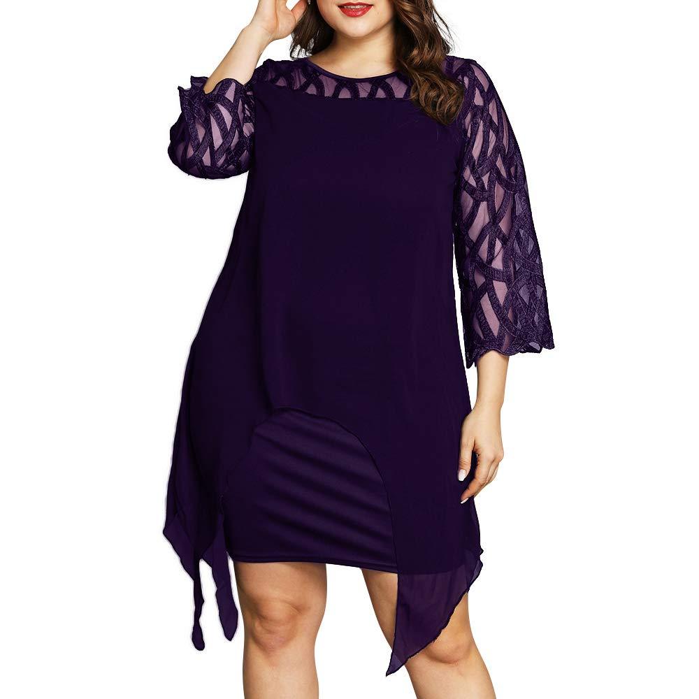 PYL Women's Plus Size Lace Bell Sleeve Chiffon Midi Pencil Dress Cocktail Party Evening Shift Dress