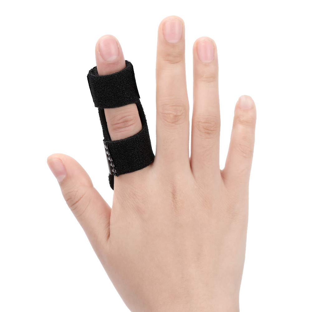 Trigger Finger Splint, Adjustable Aluminium Support for Extension Straightening Arthritis Mallet Finger Knuckle Brace for Finger Stiffness, Osteoarthritis, Sprained Knuckles Pain Relief(Black)