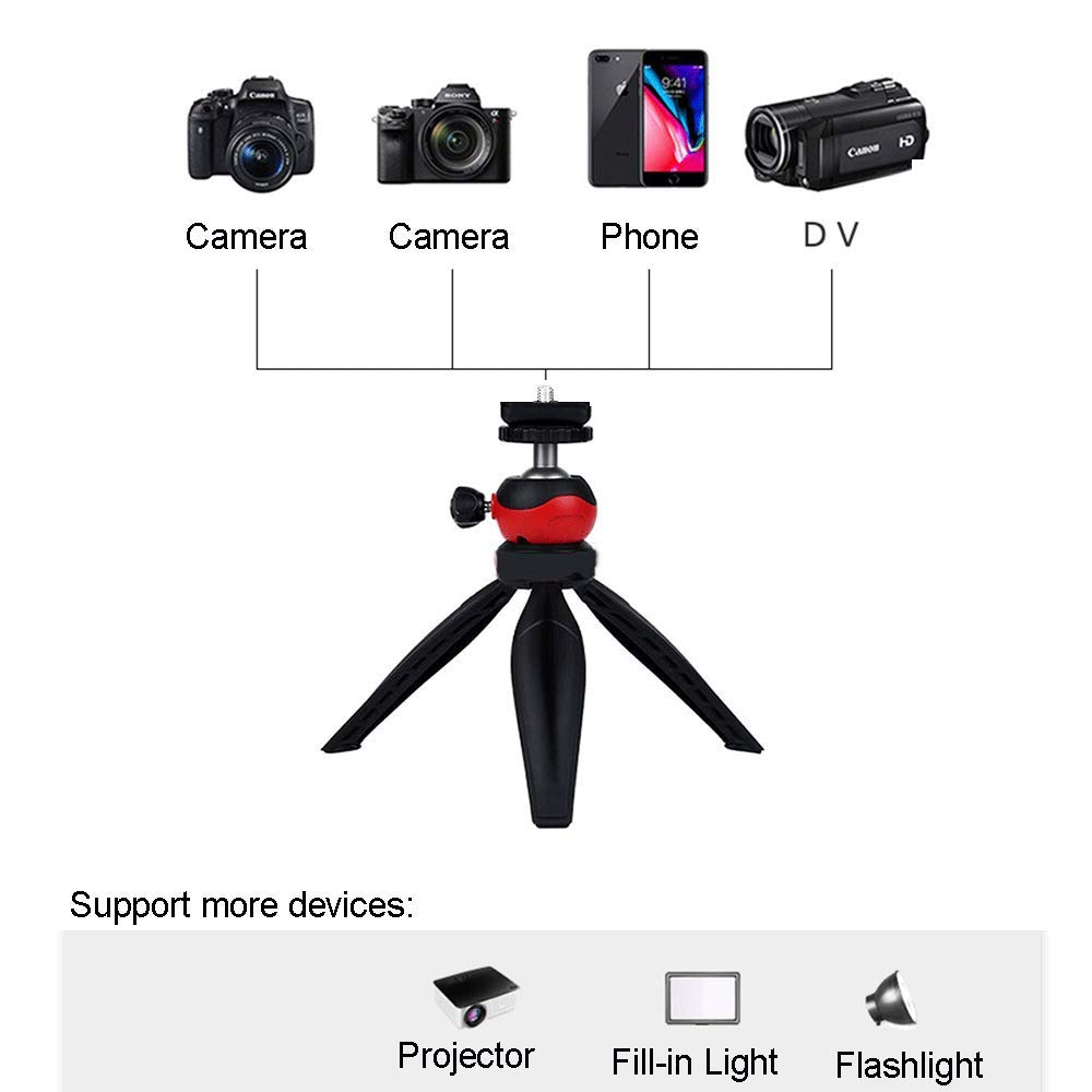 Coolux Mini Tripod Projector Mount with 360 Degrees Rotatable Heads for Projectors DSLR DVR Cameras Mini Webcam, Mount with Metal Ballhead for Camera … (Black with red)