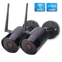 Outdoor Security Camera 1080P HD WiFi Camera Outdoor Wireless IP Camera Surveillance Video Cam with Two Way Audio Motion Detection Night Vision IP66 Waterproof Bullet CCTV Camera SD Card Slot-2 Pack