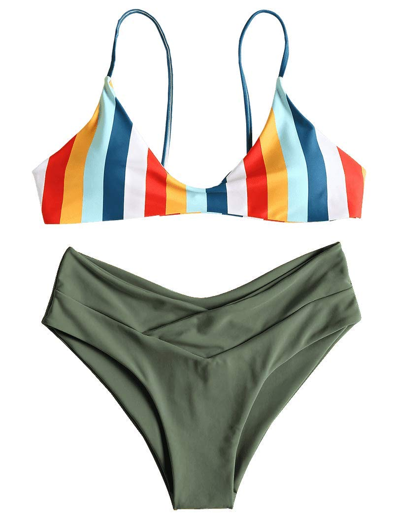 ZAFUL Women's Striped High Leg Cami Bikini Set
