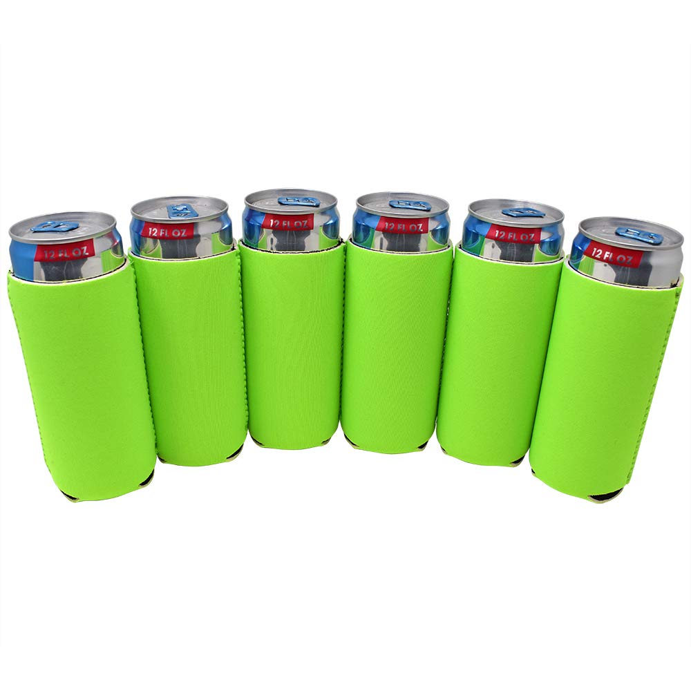 TahoeBay 12 Slim Can Sleeves - Blank Neoprene Beer Coolers – Compatible with 12oz RedBull, Michelob Ultra, White Claw Spiked Seltzer (Lime Green, 12)