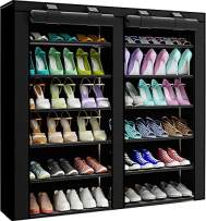 PENGKE 7 Tiers Shoe Rack Storage Organizer with Dustproof Cover Closet Shoe Cabinet Tower,Black Pack of 1