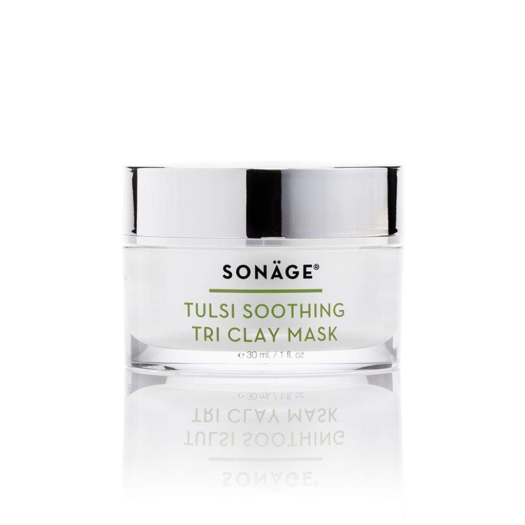 Sonage Tulsi Soothing Tri Clay Mask with Tulsi, Turmeric, Triphala, French Green Clay, Exfoliating, Absorbs Excess Oil, Reduces Acne, Promotes Circulation & Tightens Pores 1 fl oz