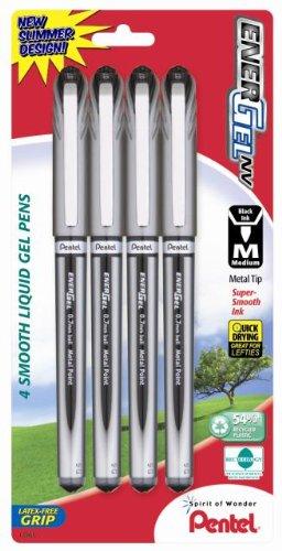 Pentel EnerGel NV Gel Ink Pen, (0.7mm), Metal Tip, Black Ink, 4 Pack (BL27BP4A)