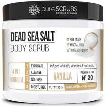 pureSCRUBS Premium Organic Body Scrub Set - Large 16oz VANILLA BODY SCRUB - Dead Sea Salt Infused Organic Essential Oils & Nutrients INCLUDES Wooden Spoon, Loofah & Mini Organic Exfoliating Bar
