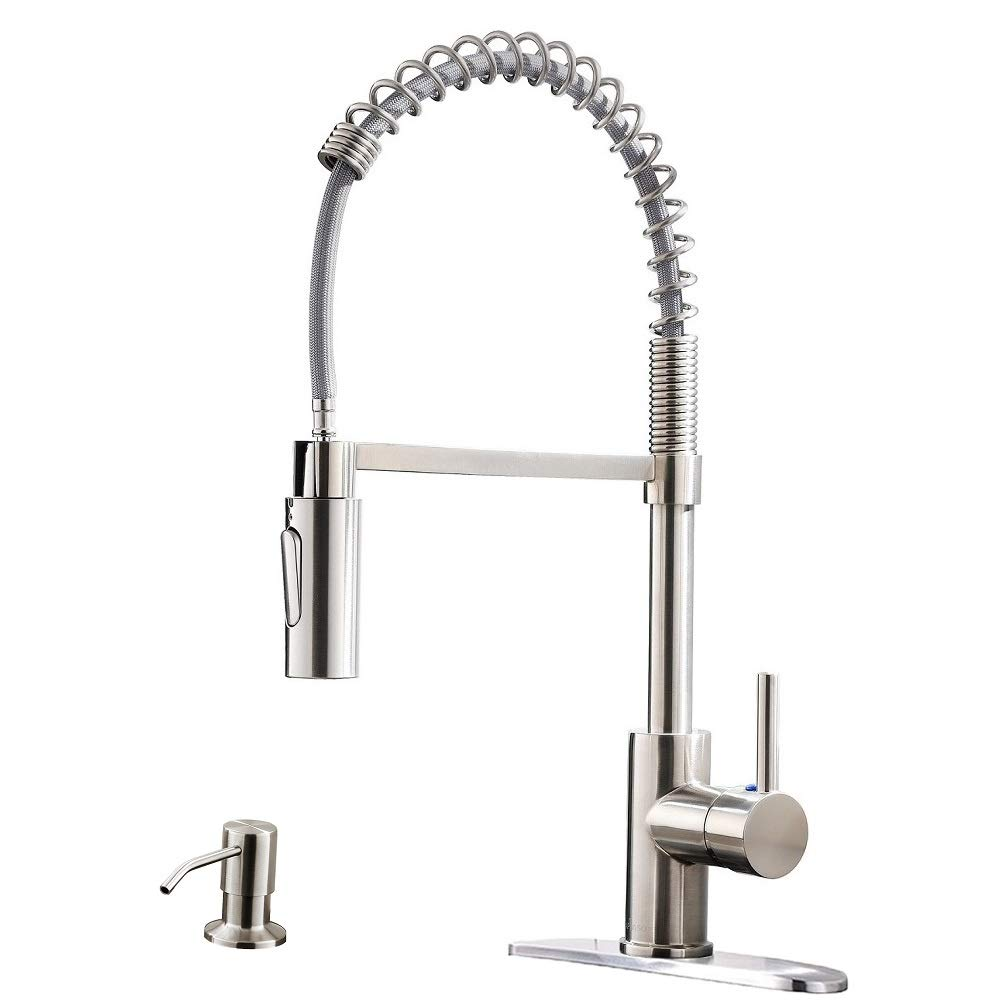 Appaso Commercial Kitchen Faucet Pull Down Sprayer With Soap Dispenser Stainless Steel Brushed Nickel High Arc Tall Modern Single Handle Spring Kitchen Sink Faucet With Pull Out Spray Head