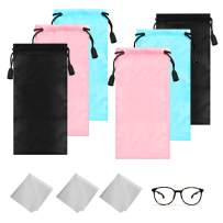 6 Pack Soft Eyeglass Pouch,DanziX Microfiber Glasses Sleeves Cleaning Bag with Drawstrings and 3 Pack Cleaning Cloth-Black,Blue,Pink