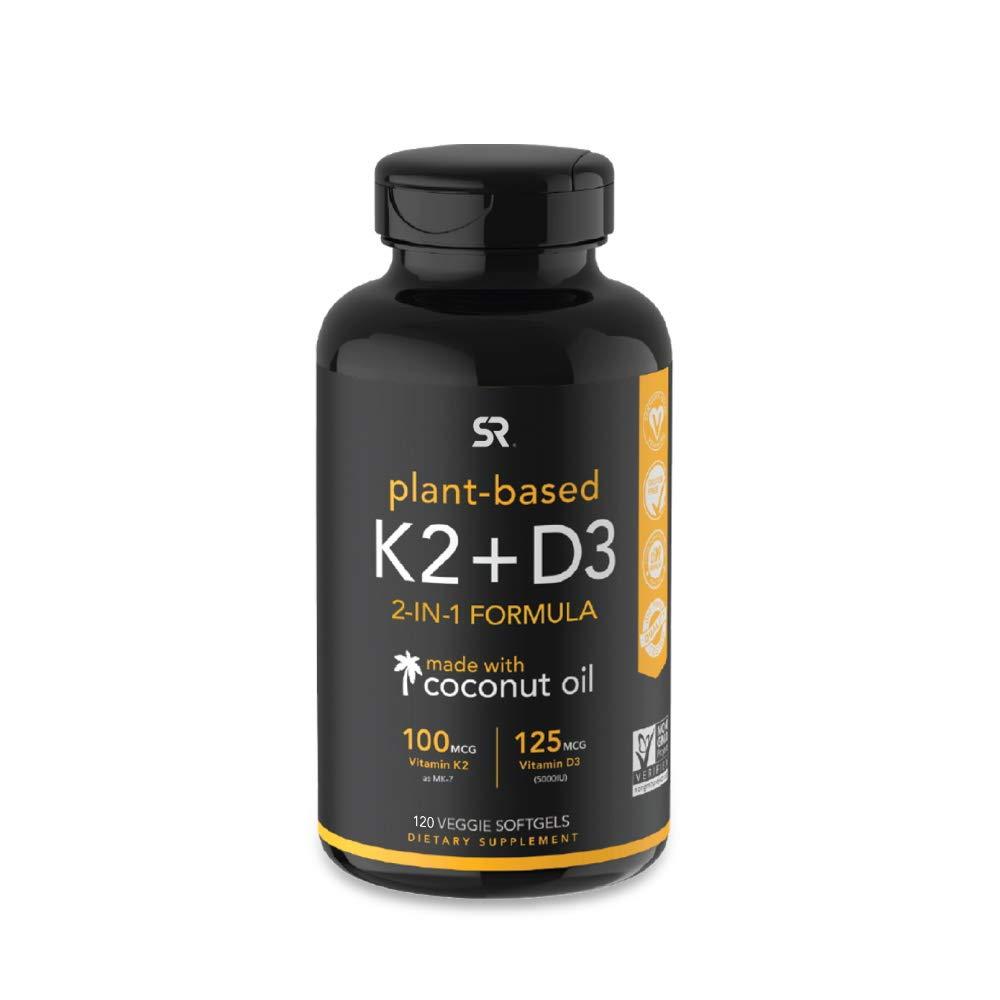 Vitamin K2 + D3 with Organic Coconut Oil - 120 Veggie Softgels