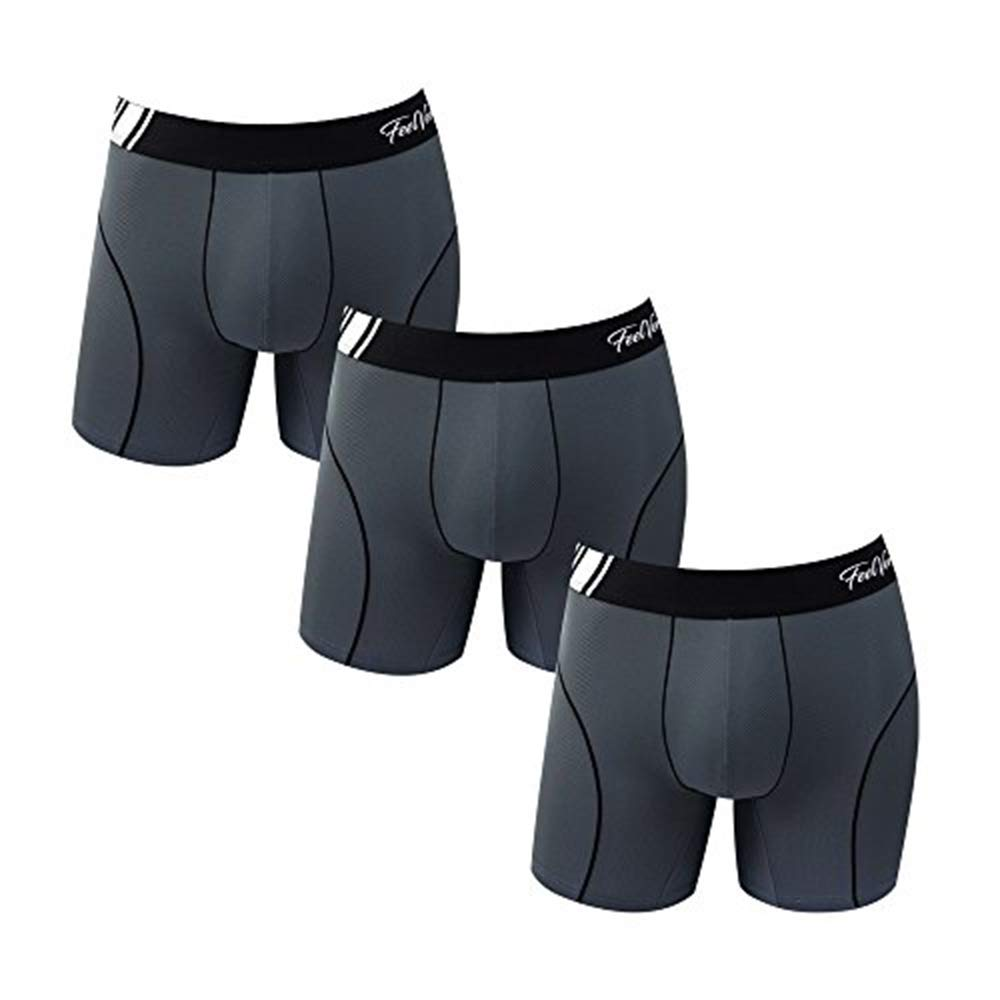 Feelvery Men's Superior Fit Microfiber Active Performance Boxer Briefs Underwear - Unlimited Comfort Series