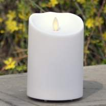 """Aglary Outdoor Flameless Candle, 3.75"""" X 5"""" Ivory, Waterproof Candle Battery Operated with Timer Control"""