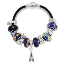 World Travel Tourism Paris Eiffel Tower Landmark European Bead Charm Bracelet Genuine Leather For Women Sterling Silver