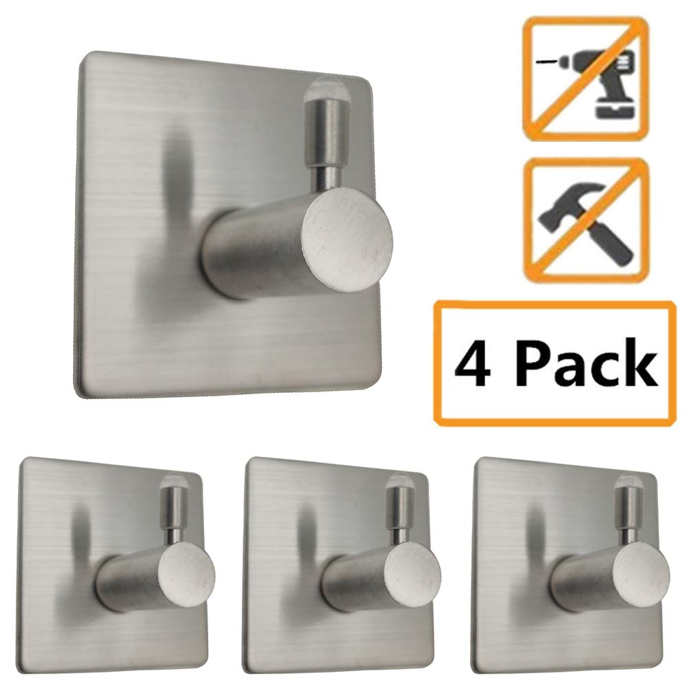 4 PCS Stainless Steel Self Adhesive Hook Towel Key Hooks, Waterproof and Oil-Resistant Wall Hook for Bathroom, Kitchen and Living Room(Square Powerful Hooks - 4 Packs)