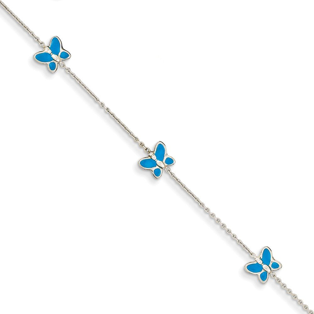 14k White Gold Blue Enameled Butterfly 10 Inch Anklet Ankle Beach Chain Bracelet Fine Jewelry For Women Gifts For Her