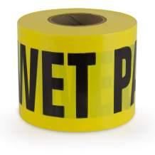"IPG Barricade Ribbon, WET PAINT, 3"" x 300 ft, Yellow/Black, (Single Roll)"
