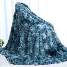 "Sleepwish Fuzzy Throw Blanket Blue Tie Dye - Decorative Sofa, Couch and Floor Throw - Soft Shaggy Faux Fur Cozy Plush Fluffy Long Hair - Comfy Blankets for Boys Bedroom Throw (51""x65"")"