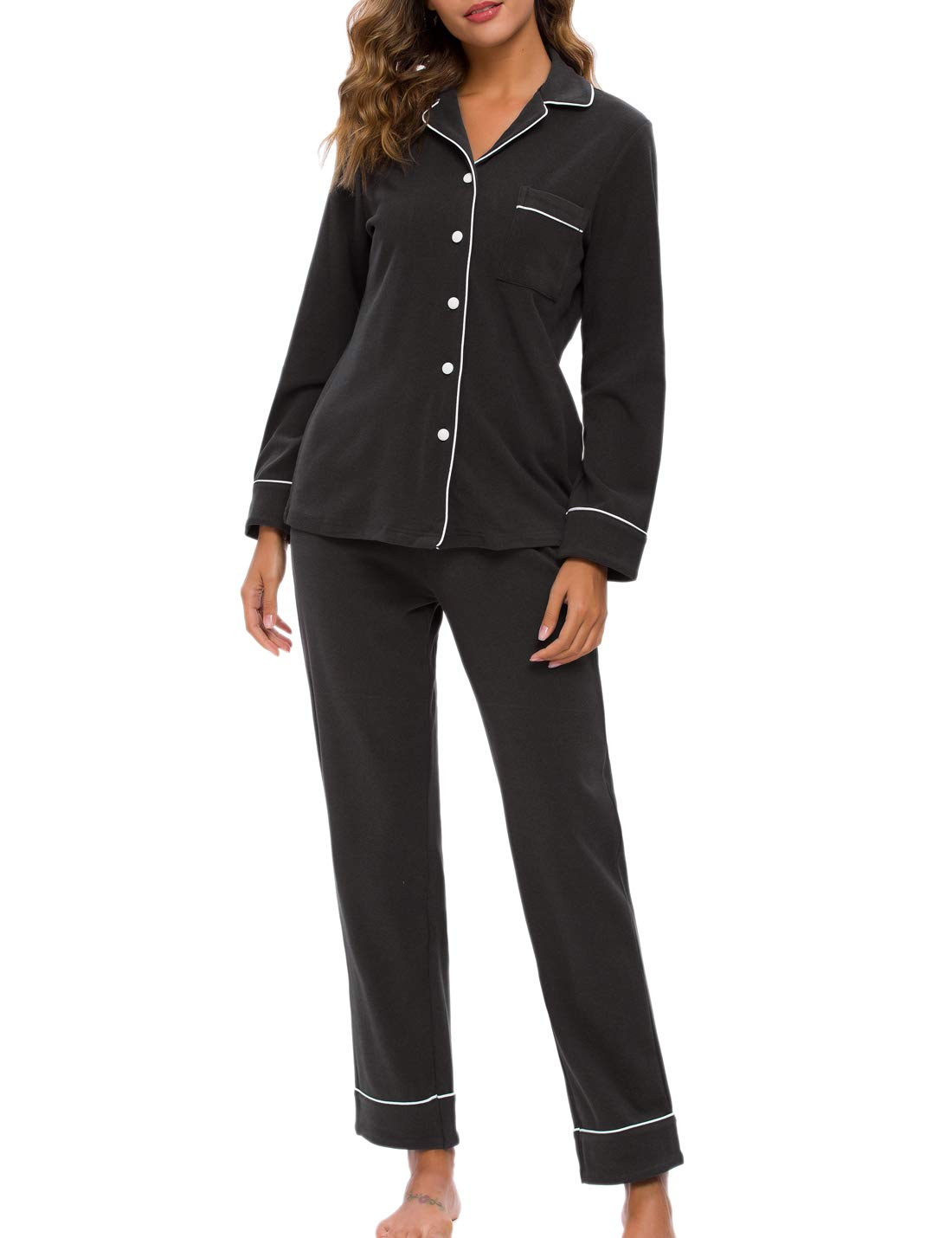 RIKILIO Cozy Fleece Pajama Set Womens Button Down Sleepwear Long Sleeve Lounge PJS XS-XL