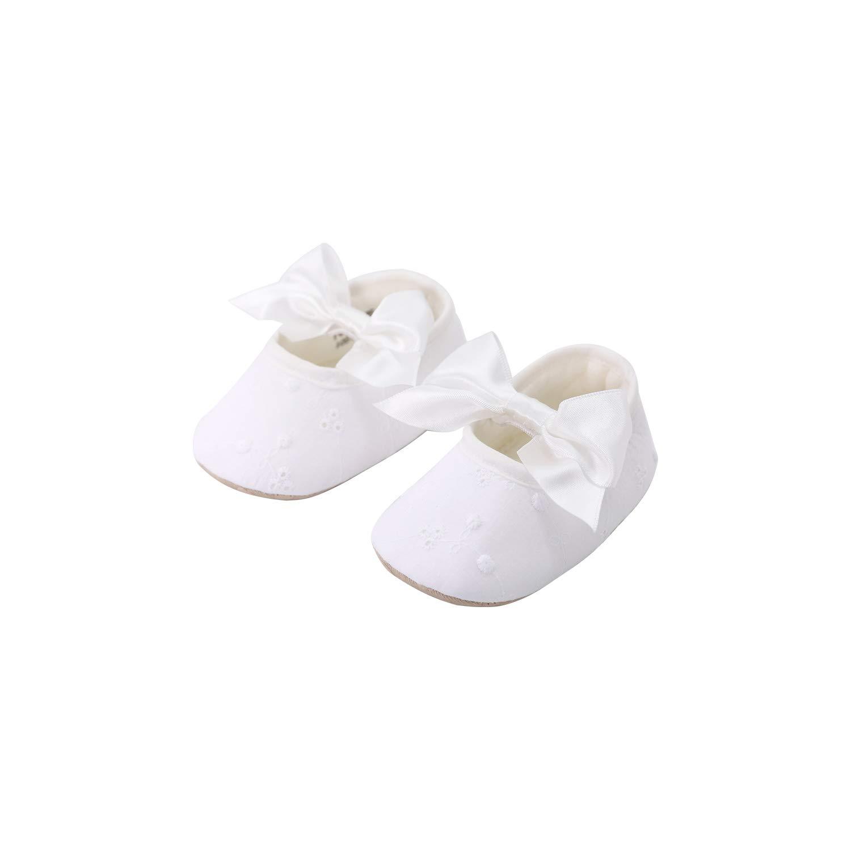 pureborn Baby Girls Princess Bowknot Soft Sole Cloth Crib Shoes Christening Baptism White