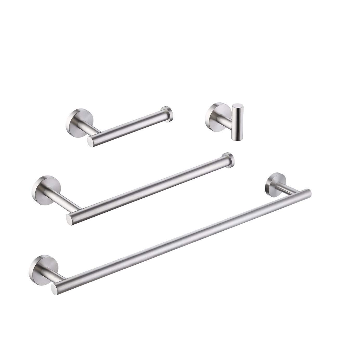 KES 4-Piece Bathroom Accessory Set Self Adhesive Towel Bar Robe Hook Toilet Paper Holder Towel Ring SUS 304 Stainless Steel RUSTPROOF No Drilling, Wall Mount Brushed Finish, LA202DG-42
