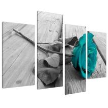 Large Black White Teal Rose Floral Canvas Wall Art Valentine'sDay Pictures on Grey Big Modern Flower Prints-Multi Panel Turquoise Artwork,4P Paintings Home Decoration Stretched and Framed Ready to Ha