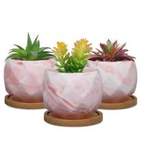 SQOWL 3.2 Inch Pink Marble Ceramic Succulent Planter Pots Indoor Modern Geometric Planter for Succulents,Cactus,Herbs with Bamboo Tray Set of 3