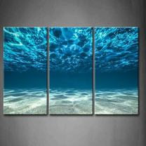 Print Artwork Blue Ocean Sea Wall Art Decor Poster Artworks for Homes 3 Panel Canvas Prints Picture Seaview Bottom View Beneath Surface Pictures Painting On Canvas Modern Seascape Home Office Décor