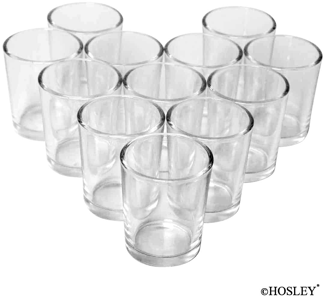 Hosley Set of 24 Votive/Tealight Candle Holders - Your Choice of Colors. Ideal for Weddings, Parties, and Special Events (2-Clear)