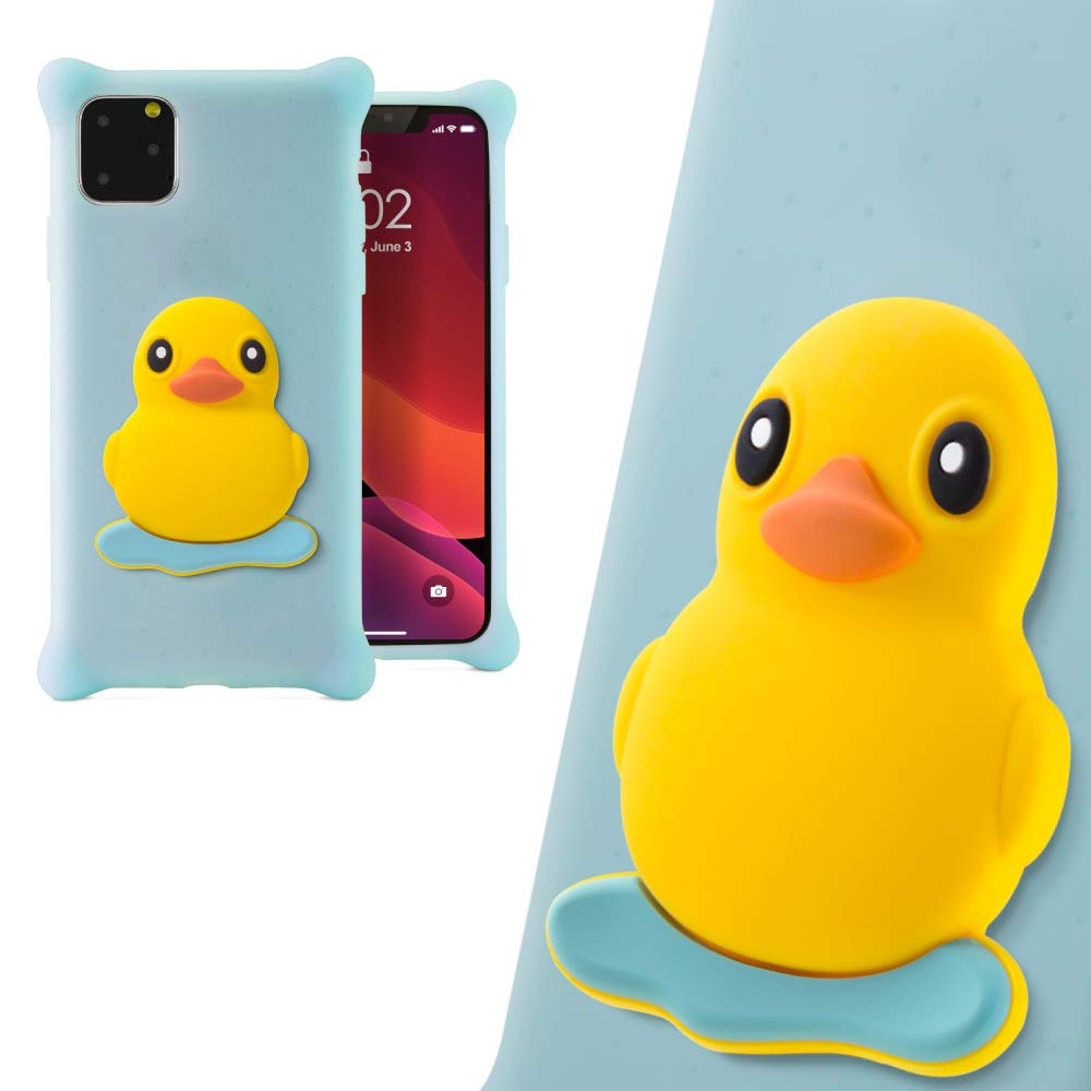 Bone Collection 3D Silicone iPhone 11 Case, Cute Animal Cartoon Protective Case for iPhone 11, Phone Bubble Figure Series (Patti Duck)