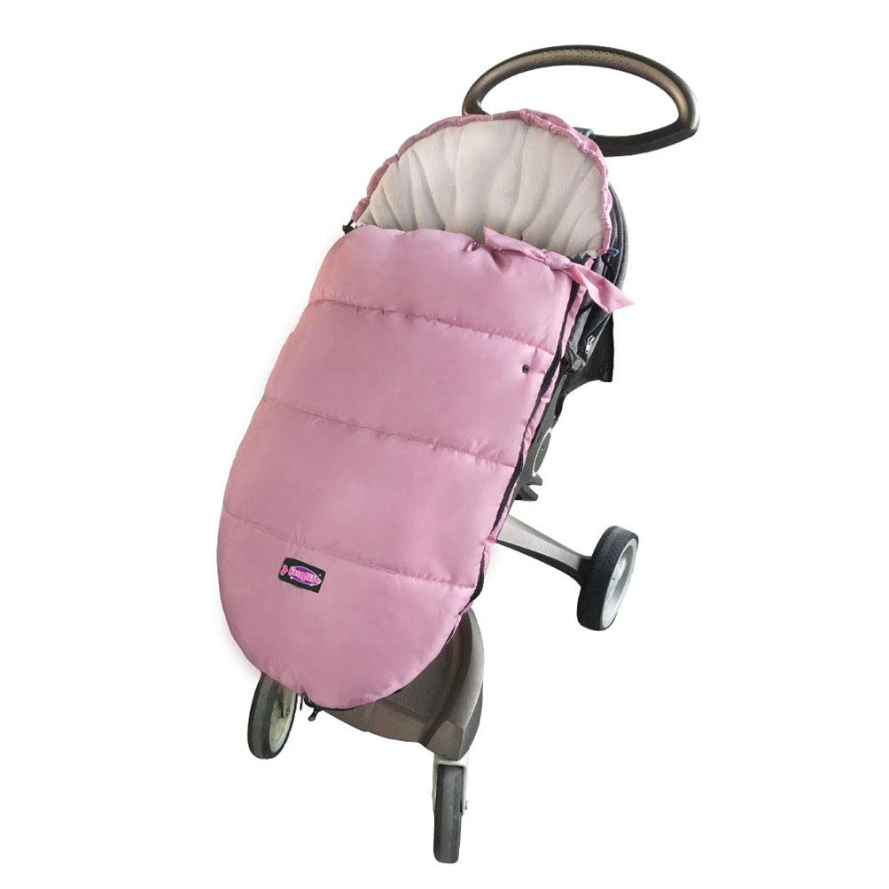 Cozy Toe Baby Universal Stroller Footmuff,Waterproof Oxford Durable Coral Fleece Stroller Bunting Bag, Front Piece Height Adjustable & Removable Toddle Sleeping Bag for 6-42M Princess,Pink