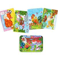 Kids Puzzles for Toddlers 3 Years,4 in 1 Wooden Jigsaw Puzzles with a Storage Box (Farm Animals)