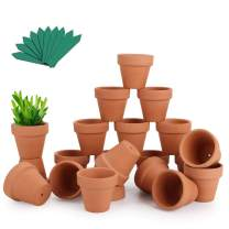 "GROWNEER 24-Pack 2"" Mini Clay Pots Terracotta Pot with 25 Pcs Plant Labels, Ceramic Pottery Planter Cactus Succulent Nursery Pots, for Indoor Outdoor Plants, Crafts, DIY, Wedding Favor"