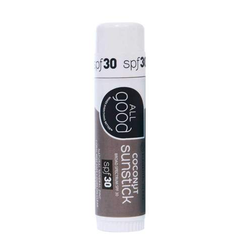 All Good Sunstick - Mineral Sunscreen for Face, Nose, Ears - Coral Reef Safe - Water Resistant - SPF 30 (.6 oz)(Coconut)